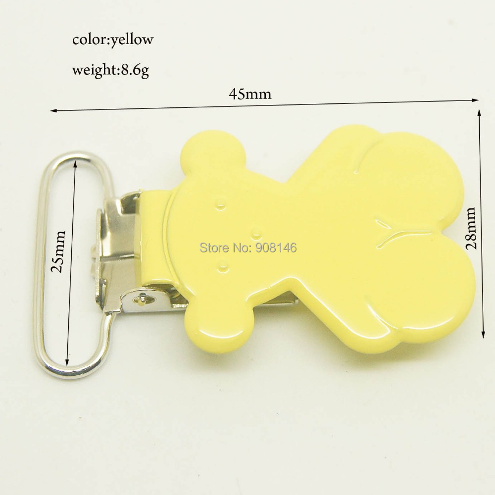 20,bear shaped suspender clips yellow color 25mm ribbon
