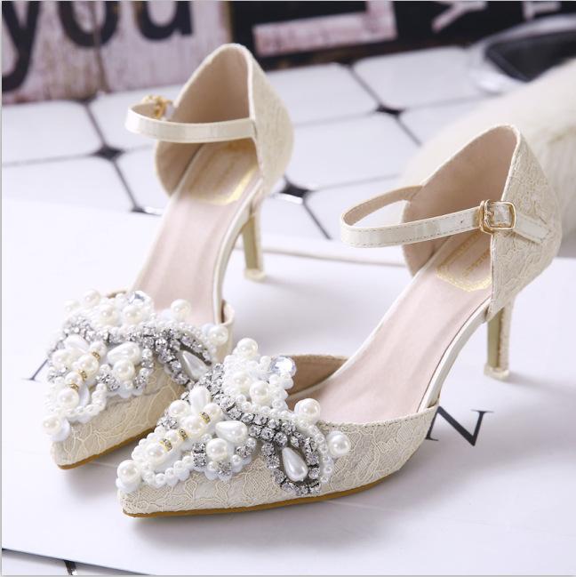 2016 Summer Style Fashion Elegant Stiletto Crystal Wedding Shoes Beaded Sandals Hollow Sweet Black Beige<br><br>Aliexpress