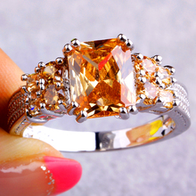 Wholesale Saucy Exalted Emerald Cut Morganite 925 Silver Ring Size 10 New Fashion Jewelry Gift For