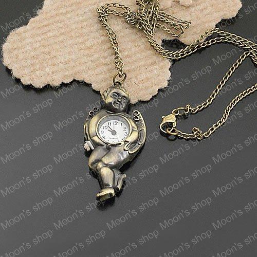 Wholesale pendant 56*26mm Chain length 85cm Antique Bronze Angel Alloy Watch necklaces Findings Accessories 1 piece(JM207)(China (Mainland))