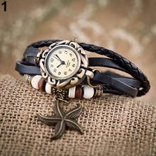 Mujer chica Vintage pulsera de cuero de las estrellas de mar decoración del cuarzo del reloj 28D7