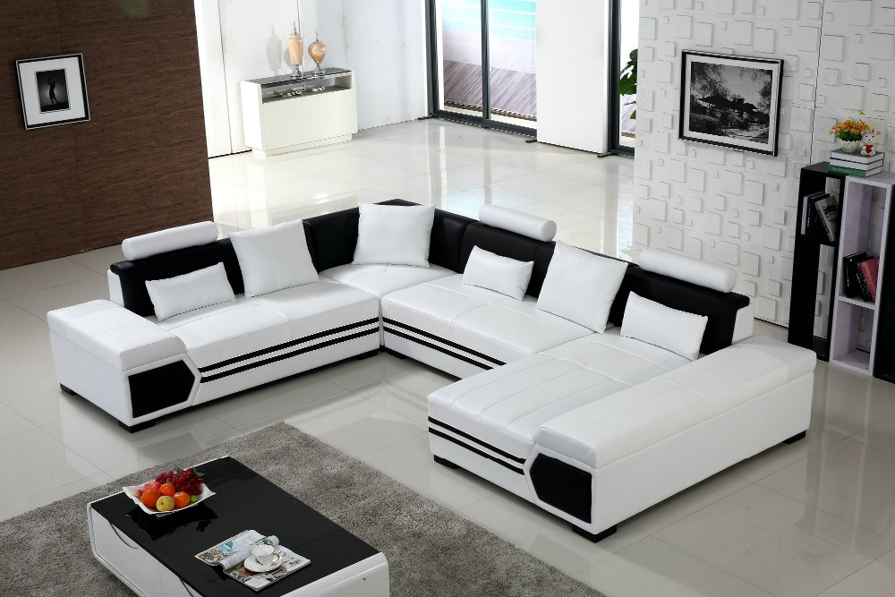Large u shaped sofa white leather couch living room sofa for U shaped living room