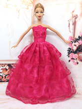 NK One Pcs  Princess Doll Wedding Dress Noble Party Gown For Barbie Doll Fashion Design Outfit Best Gift For Girl' Doll 032A(China (Mainland))