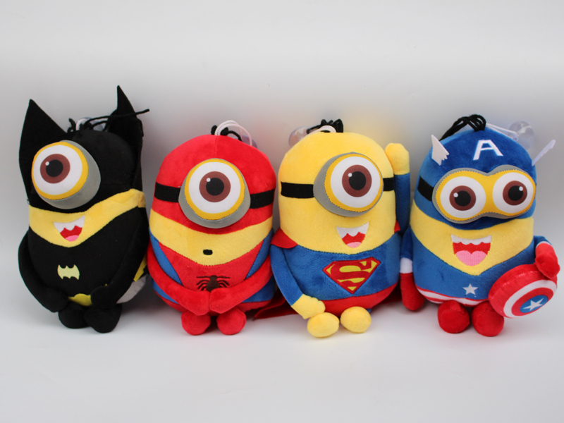 Minions Cosplay The Avengers Super Hero Spiderman & Superman & Batman & Captain America 25cm Despicable ME 2 Action Figure Toys(China (Mainland))