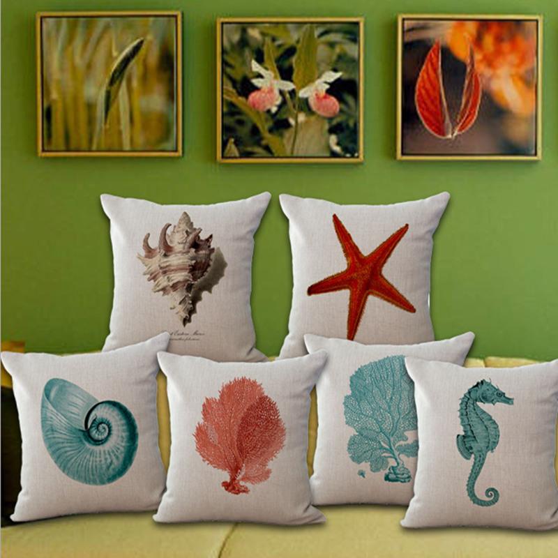 Sea Shell Throw Pillow Covers funda cojin 45*45cm Sofa Bedroom Cushion Accessories Home Decoration Art Cotton Linen Blending(China (Mainland))