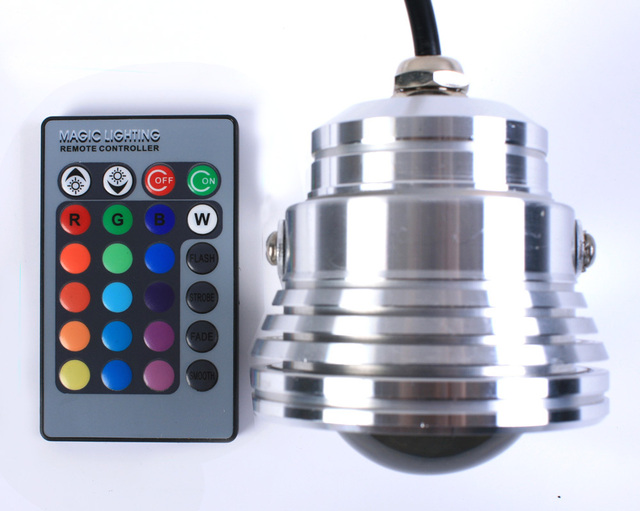 Wholesale High power Stainless steel IP68 Waterproof underwater LED light 12v RGB remote control lamp EMS free shipping