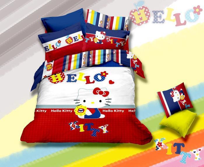 cartoon hello kitty children bedding set queen full size