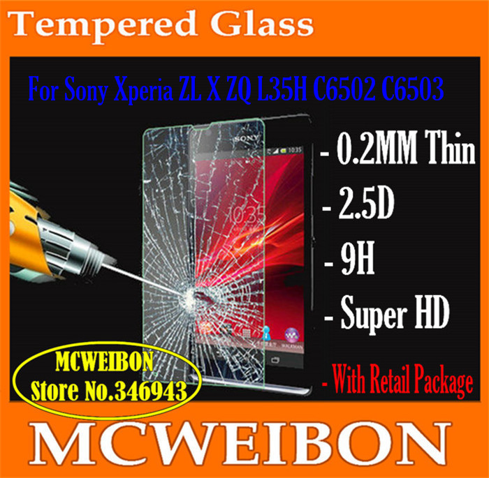 tempered glass screen protector de pantalla phone Lcd projector For Sony Xperia ZL X ZQ L35H C6502 C6503,mobile protective film(China (Mainland))