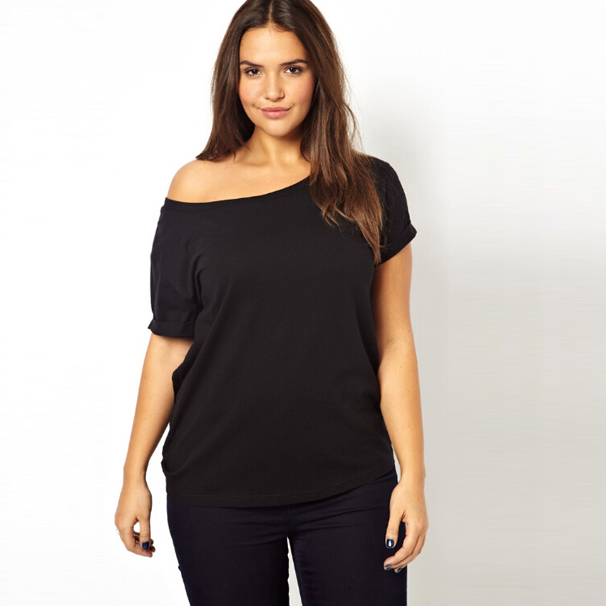 5xl plus size t shirt women black white loose o neck t for Plus size t shirts