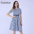 Clocolor Women Vintage Dresses Summer spring Elegant Dark blue Stripe color clock Rockabilly Club Party Dresses