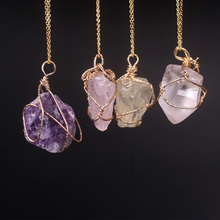 New Classic Handmade Twining Irregular Natural Stone Pendant Amethyst Rose Quartz Crystal Necklace For Women(China (Mainland))
