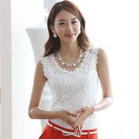 Women Summer Fashion Top Lace Casual Sleeveless Plus Size Shirts Brand Quality Black White Slim Cotton Tanks