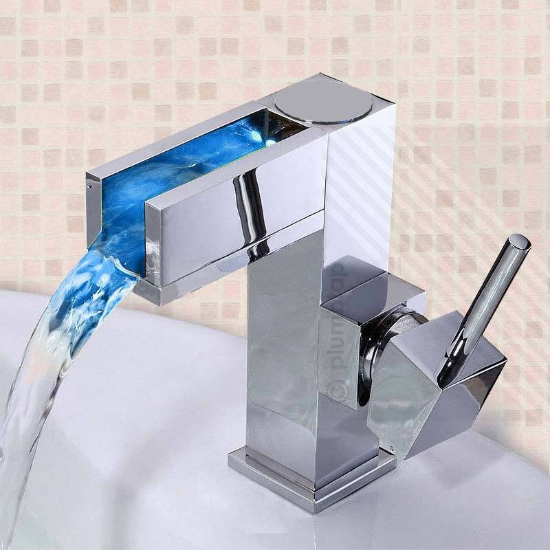Hot LED chrome Single Lever Waterfall Bathroom Basin Mixer Tap (No Batteries Required) Water Faucet With 50cm Water Tube(China (Mainland))
