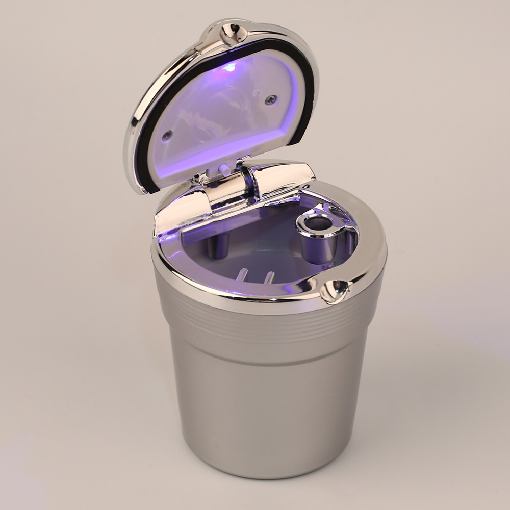 Office Car Interior Blue LED Light Smokeless Cigarette Ashtray Holder Cup Brand New(China (Mainland))