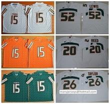 College Miami Hurricanes 20 Ed Reed 15 Brad Kaaya 26 Sean Taylor 52 Ray Lewis Green Orange White(China (Mainland))