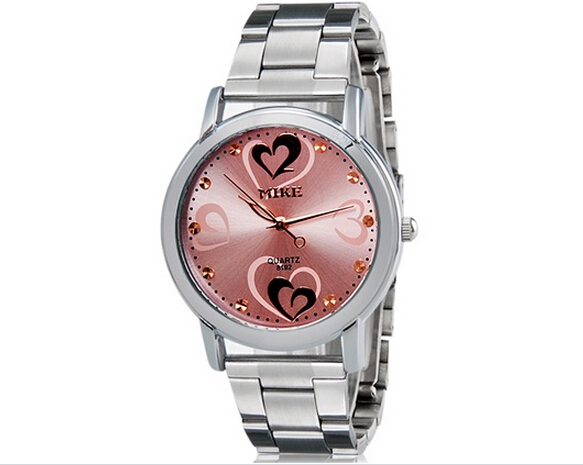 2016 New Design  Luxury Brand MIKE 8192 Heart &amp; Heart Print Womens Analog Watch High Quality With Stainless Steel Strap 8192<br><br>Aliexpress