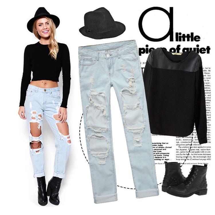 mode frauen plus size jahrgang l cher zerrissenen jeans denim blau wei e hose weiblichen retro. Black Bedroom Furniture Sets. Home Design Ideas