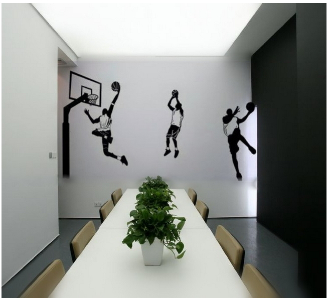 Basketball player wall decor vinyl decal wall stickers for Basketball mural wallpaper