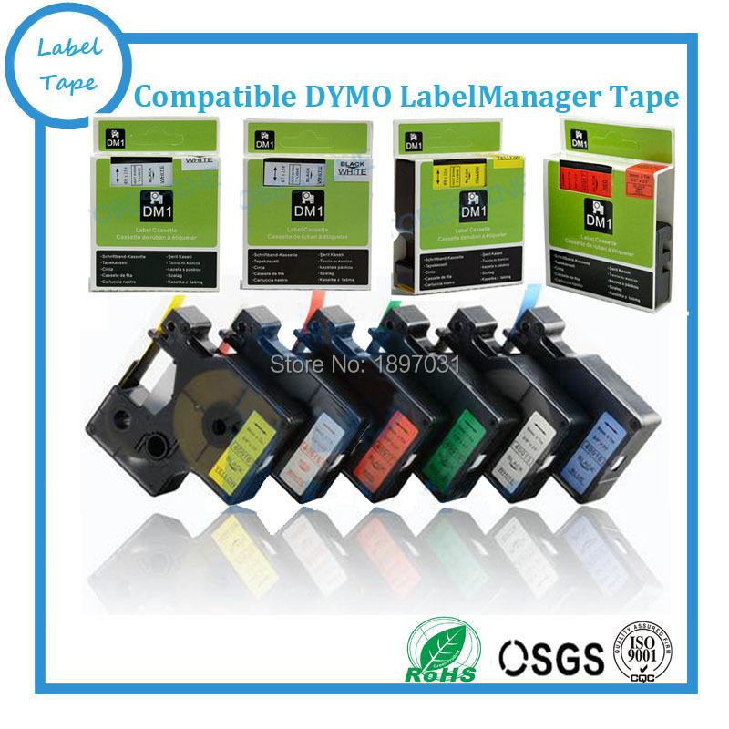 Free 5 pcs/lot Dymo D1 mixed color tapes 43615, 43616, 43617, 43618, 43619 Ribbon label Maker Dymo D1 Tape 6mm