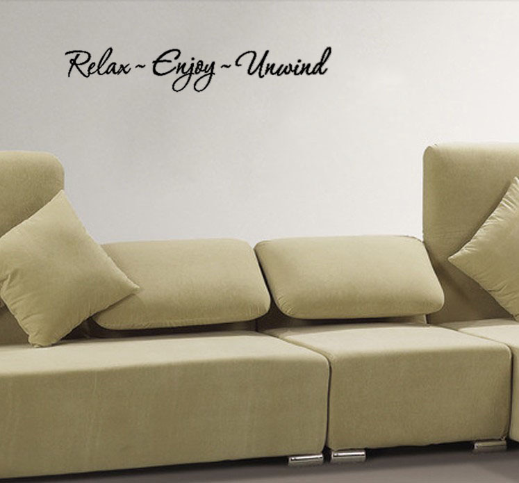 RELAX ENJOY UNWIND Quote vinyl wall quote for home(China (Mainland))