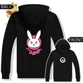 Warm autumn winter anime game hoodies WATCH OVER dva lovely cute rabbit two colors printing DVA