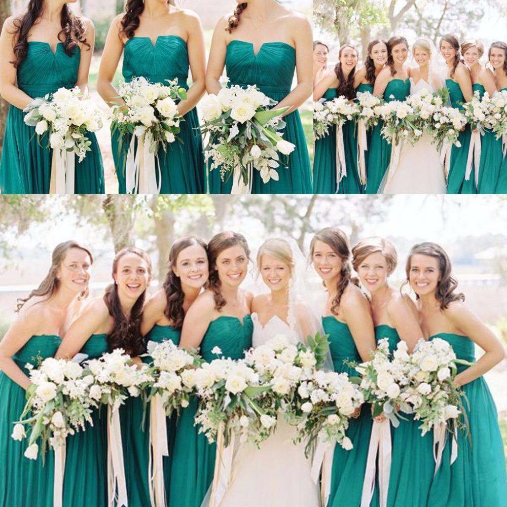 Vestidos para damas de honor verde esmeralda