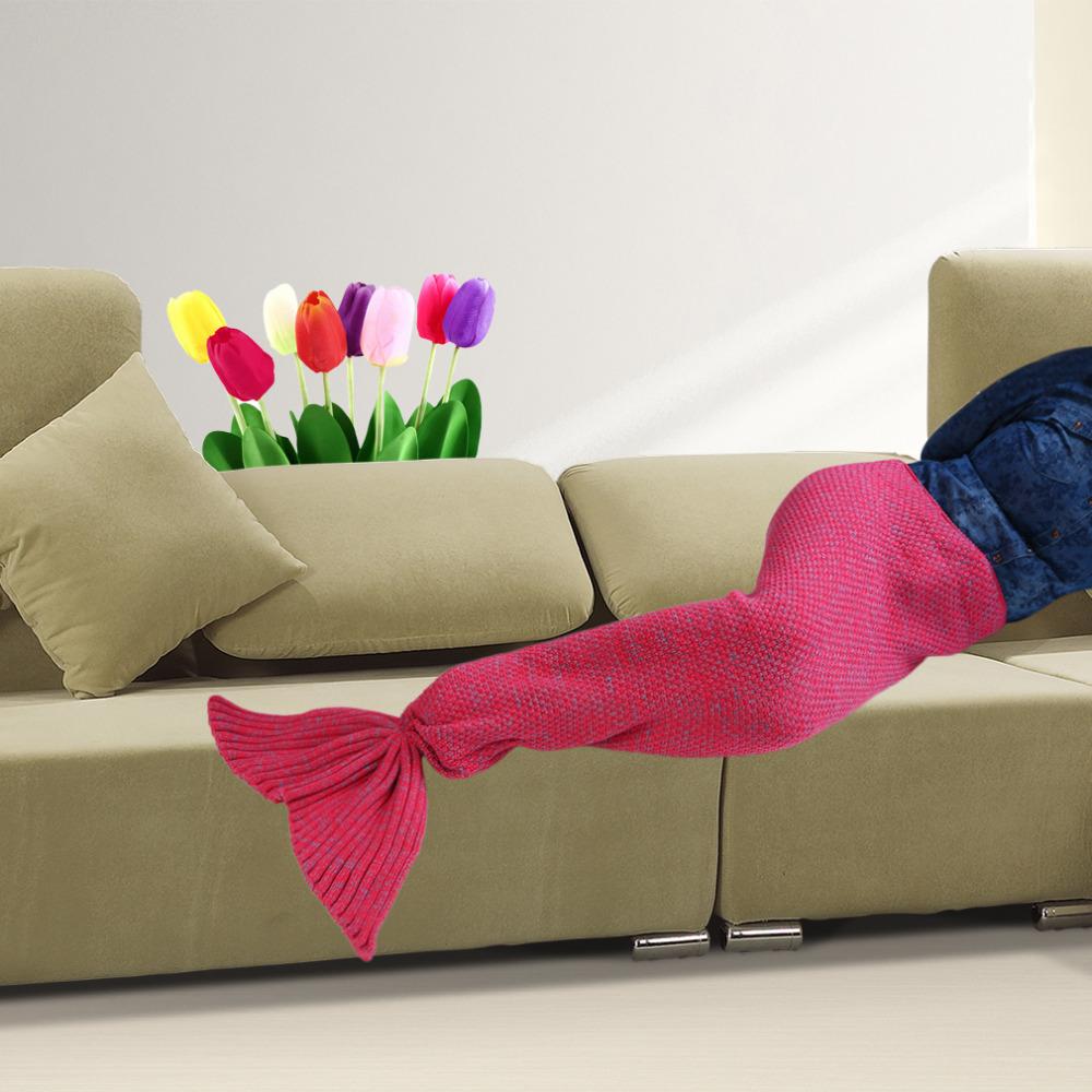 2016 NEW High Quality Mermaid Tail Design Worm Beautiful Cotton Sleeping Bag Knitting Wool Blanket(China (Mainland))