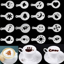 16pcs Kitchen Dining & Bar Cappuccino Coffee Barista Stencils Template Strew Flowers Pad Duster Spray(China (Mainland))