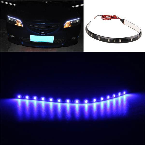 CARCHET 20PCS LED Strip 30cm Blue Waterproof 15 LED Flexible Car Christmas Strip Light Lamp Bulb Car Styling Decoration Lights(China (Mainland))