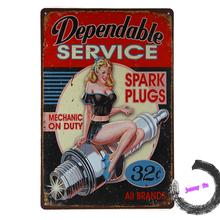 Dependable Service Spark Plug Pinup Girl TIN SIGN metal garage wall decor G3(China (Mainland))