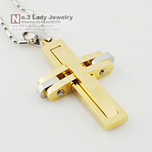 Free shipping Fashion Metal 316l stainless steel Cross Pendant Necklace for men women Jewelry 2015 Wholesale