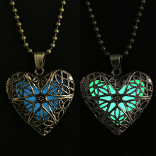 Glowing Necklace Jewelry Glow heart  Pendant Charms necklace Glow in the Dark Gifts for Her hollow Necklace for women