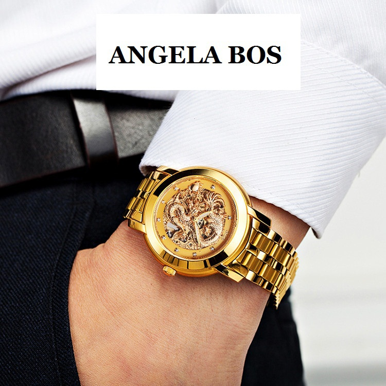 ANGELA BOS Gold Dress Watch Men Dragon Carved Dial Automatic Mechanical Waterproof Skeleton Stainless Steel Bracelet 9007 - store