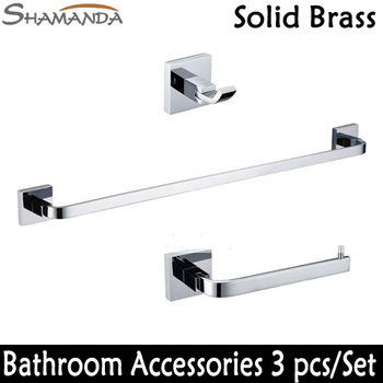 Free Shipping Bathroom Accessories Set Square Solid Brass Chrome Robe hook Paper Holder Single Towel Bar 3 pcs/set-wholesale