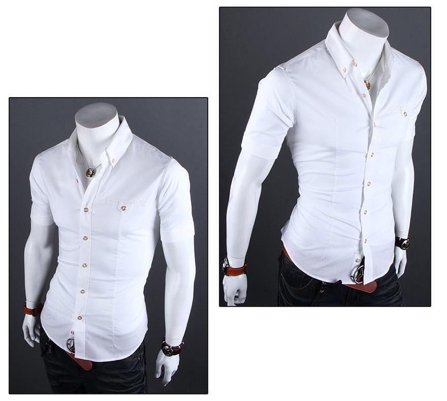 2015 Short Sleeve Mens Slim Fit Shirts Summer Neckline Cotton camisa masculina Breathable Man Shirt Camisa