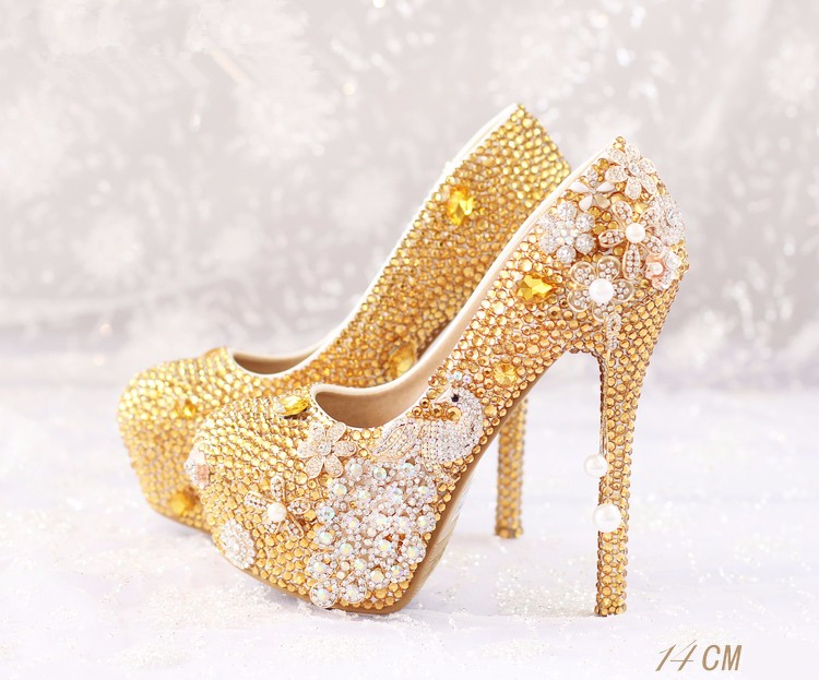 2016 gold rhinestone handmade bride wedding shoes  peacock bridal shoes ultra high heels platform shoes free shipping