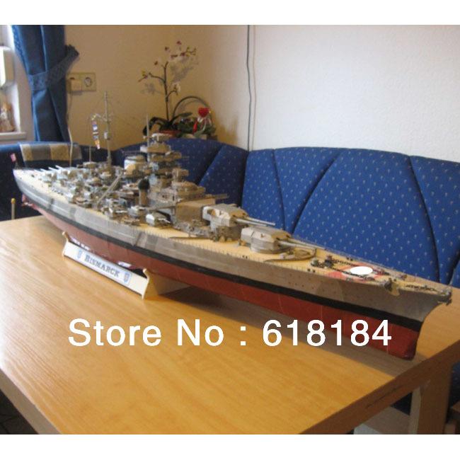 Free shipment diy paper model Battleship 1.3 meter Long 1:200 Germany schlachtschiff Bismarck Battlecruiser 3d military puzzles(China (Mainland))