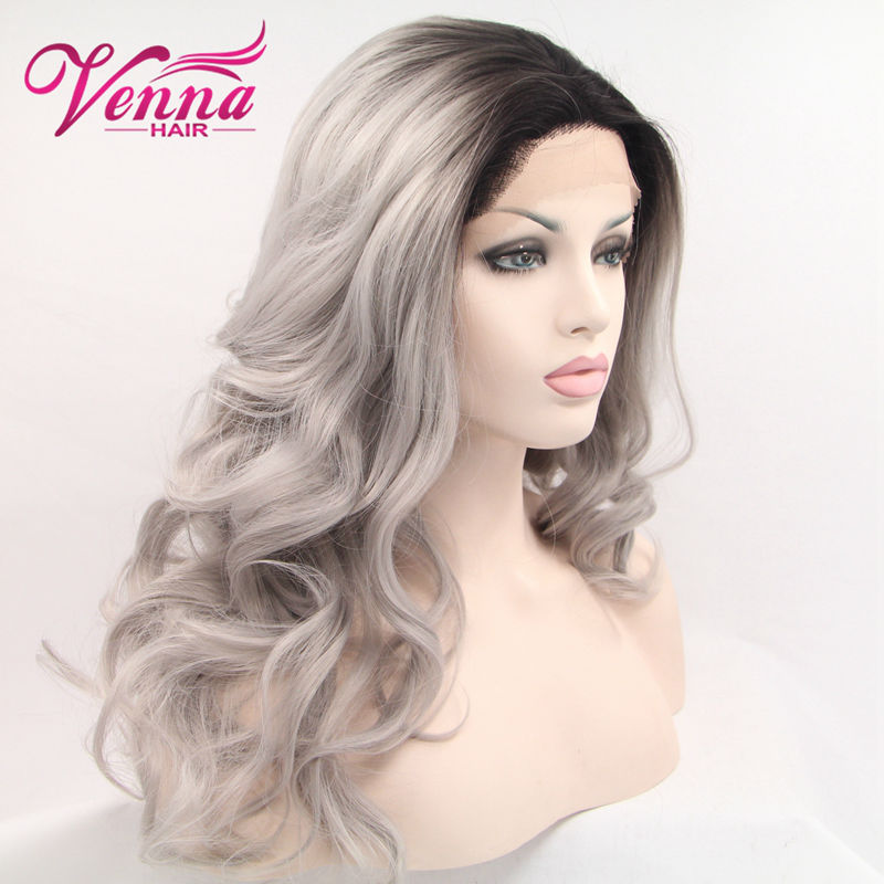 Ombre Wig Black Gray Mix Color Women Long Wig Two Tone Synthetic Light Grey Wavy Cosplay Wigs