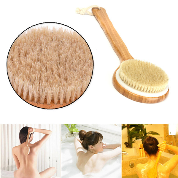High-end New Arrival Natural Bristle Long Handle Wooden Wood Bath Shower Body Back Brush Spa Scrubber(China (Mainland))