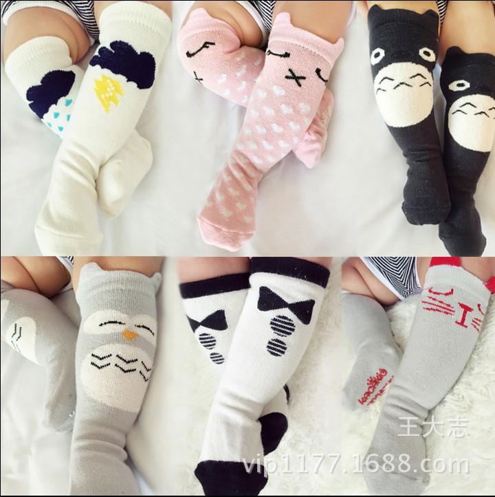 One Pair 14 Style 100% Cotton Knitted Cartoon Animal New Born Baby Boys Gitls Knee Socks 0-2 Years<br><br>Aliexpress
