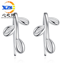 The heart of the silver plated series of small fresh 2016 female Korean fashion hypoallergenic earrings earrings silver leaves(China (Mainland))