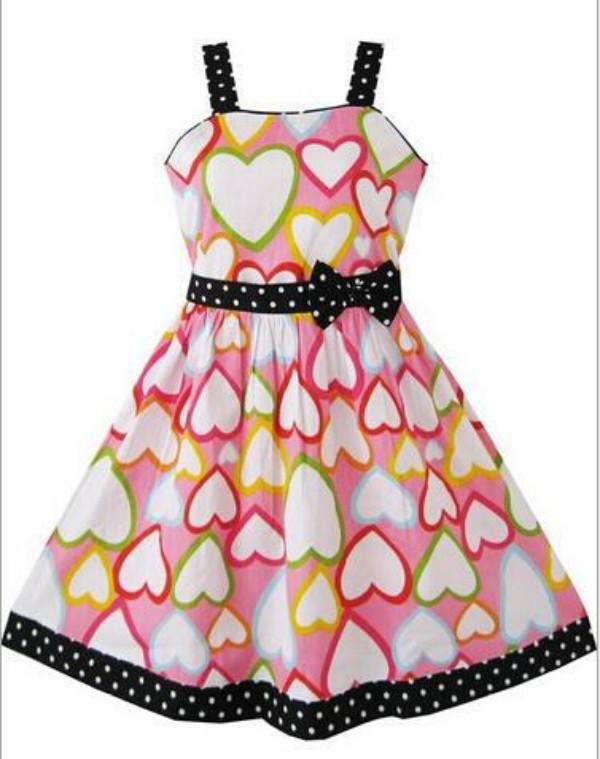 Retail Baby Girls Dress Clothing Black Bowknot Cotton Infants Pink Heart Dresses Sripe Princess Kids girls dress clothes QY-049(China (Mainland))