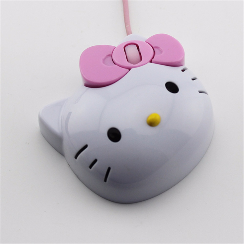 Free Shipping Dropship 3D Hello Kitty Wired Mouse Wired Mause USB 2.0 Pro Gaming Mouse Optical Mice For Computer PC(China (Mainland))