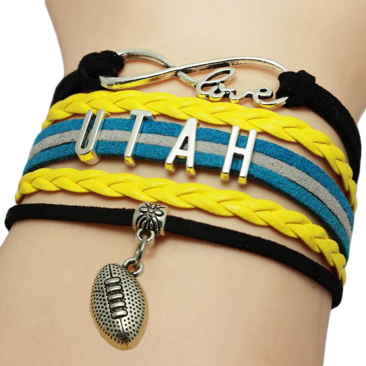 Infinity Love UTAH Baseball Team Bracelets Yellow Leather Suede Rope Charm Customize Friendship Wristband Women Bangle(China (Mainland))