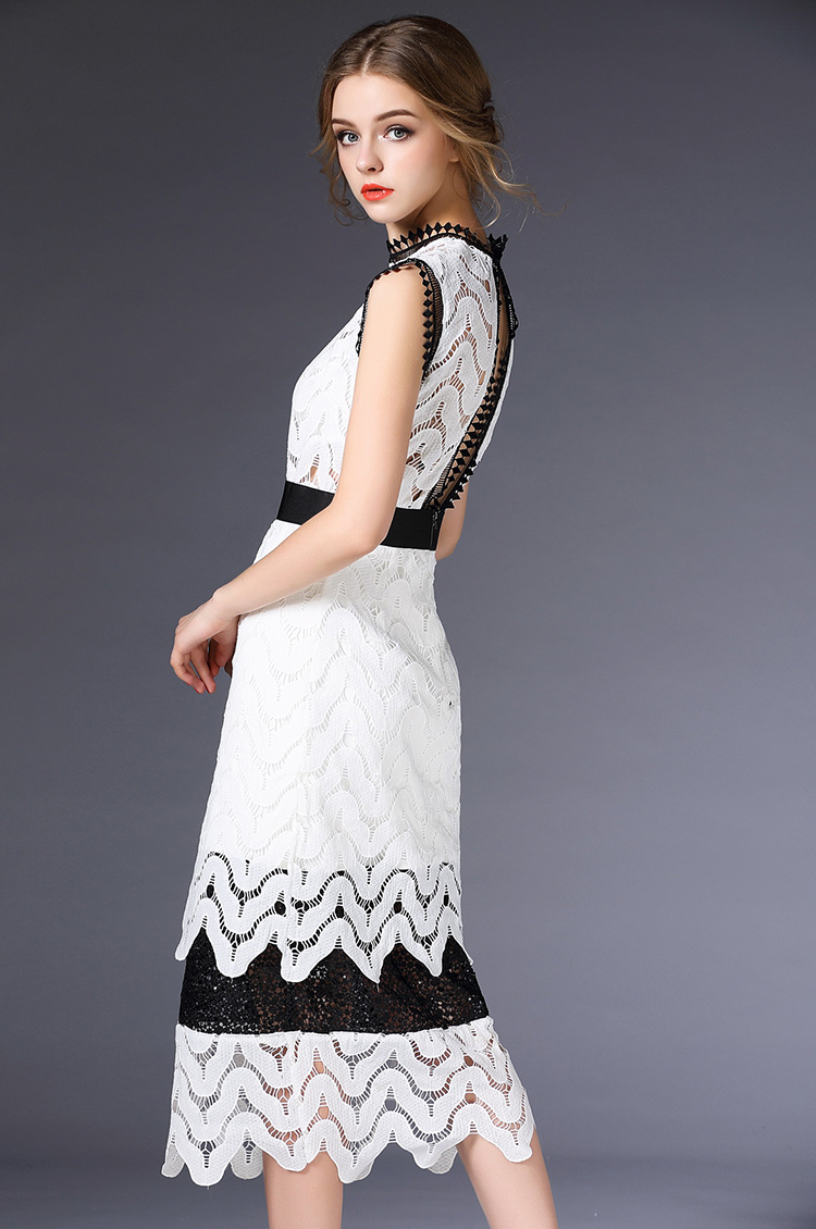 Sexy Backless Lace Party Dresses Crochet Lace Hollow Out Long Dress Vestidos Sleeveless Long Dress 2016