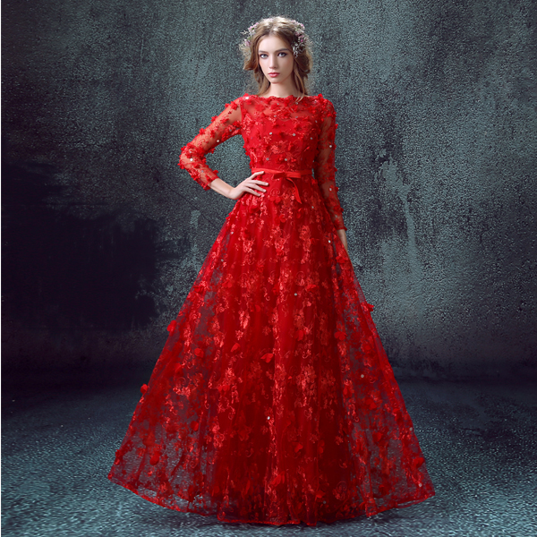Robe De Soiree Luxury Red Long Evening Dress 2016 Bride Lace Flower ...