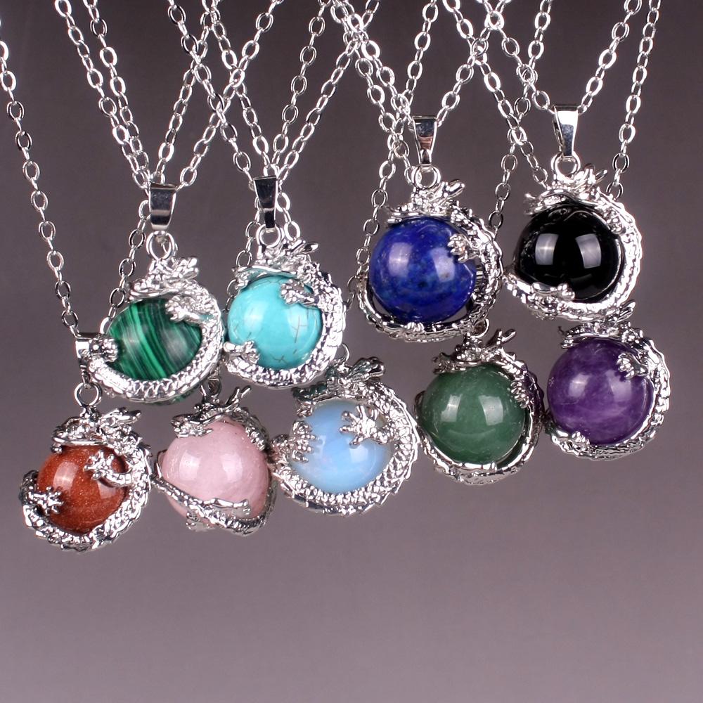 Micromart Free Shipping 25MM Mix-Stone Pink Quartz Lapis blue Malachite Onyx Opal Onyx Round Bead Dragon Pendant Necklace(China (Mainland))