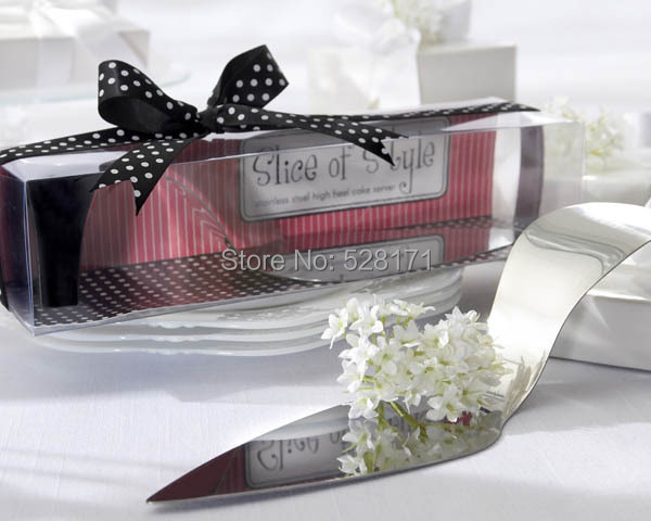 NEW ARRIVAL+Wedding Favors Serve Up Some Style! Stainless Steel High Heel Cake Server+12pcs / lot+FREE SHIPPIN(China (Mainland))