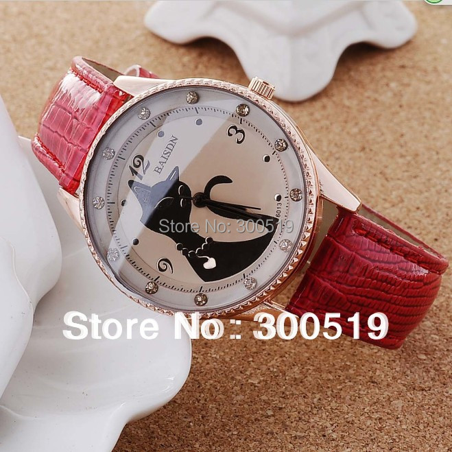 JW109 2013 Hot Sale Cat Watches Women Fashion Lady Dress Watch Vintage PU Leather Strap Watches(China (Mainland))