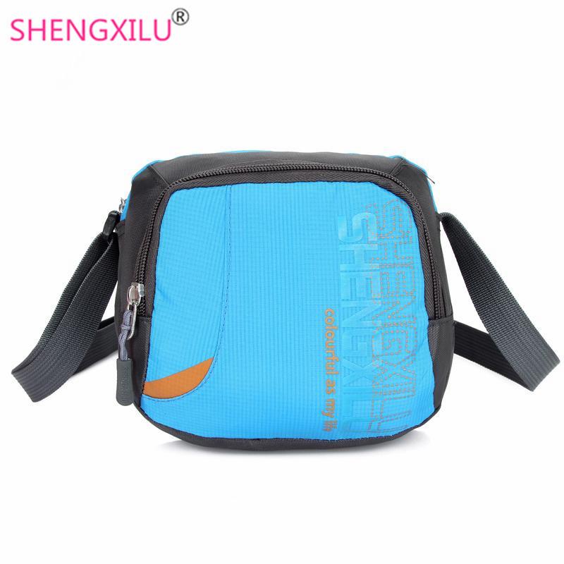 Shengxilu mini women shoulder bags brand logo blue nylon casual girls crossbody bags shopping phone messenger bags wholesale(China (Mainland))